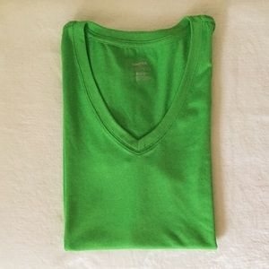 REEBOK Playdry V-Neck Active Tee Lime Green - XL